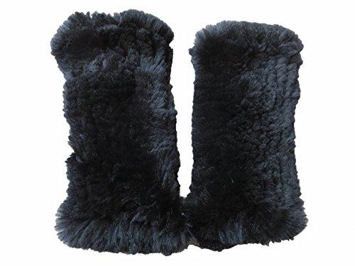 (Real Rex Rabbit Fur Elastic Gloves Fingerless Soft Warm (Black))