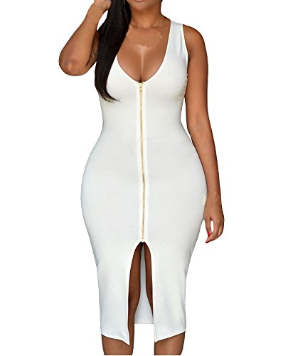 Womens Bodycon Zipper Front Plunge product image
