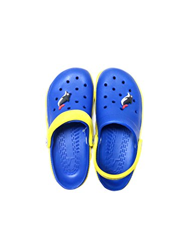 V Italia Blue Yellow Kids Clogs With Jibbets Outdoor Size 4-5 - Image 2