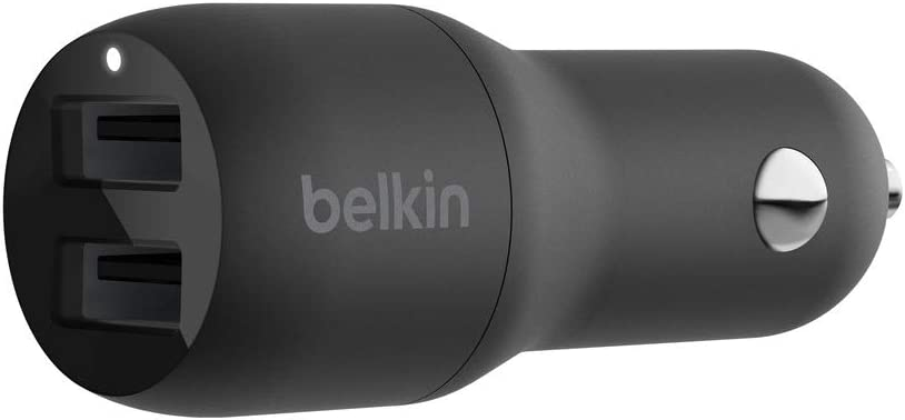 Belkin Dual USB Car Charger 24W (Boost Charge Dual Port Car Charger, 2-Port USB Car Charger) iPhone Car Charger, Android Car Charger (CCB001btBK)