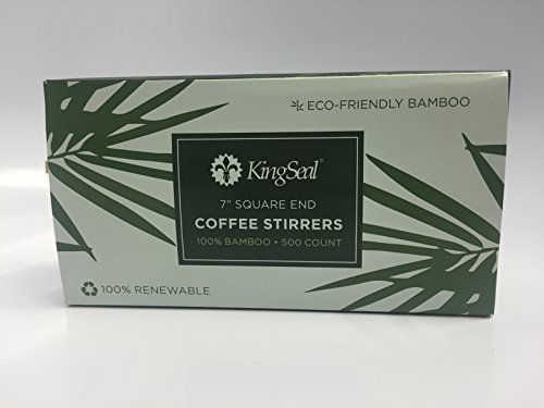 KingSeal Square End Bamboo Coffee Stirrers - 7 Inches, 4 Pack/500 per Pack