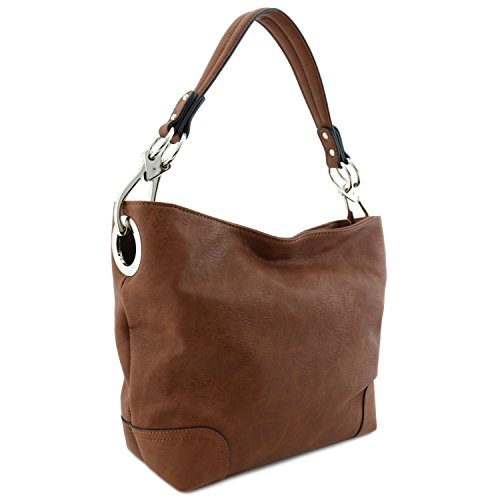 Hobo Shoulder Bag with Big Snap Hook Hardware (Brown)