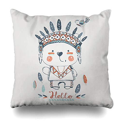 Pakaku Decorativepillows Case Throw Pillows Covers for Couch/Bed 16 x 16 inch,Red Baby Cute Indian Bear Girl Bird Kids Home Sofa Cushion Cover Pillowcase Gift Bed Car Living Home