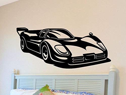 Che3423erth Race Car Wall Decal Boys Nursery Decorations Bedroom Removable Wall Decor Man Cave Vinyl Racecar Wall Sticker Kids Bed Room Playroom Mancave