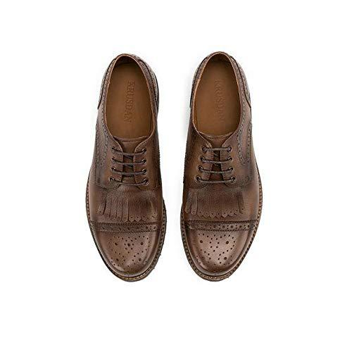 Borla Zhuxin Masculinos 39 Bullock Cordones de para con Zapatos Size de Oxford Color EU Retro Cuero Zapatos Hombre Oxfords Genuino Brown Red Hombres Retros 6nq861rw