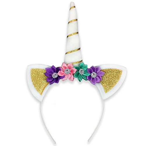 White and Gold Unisex Princess Unicorn Horn Headband with Colorful Flowers All Ages