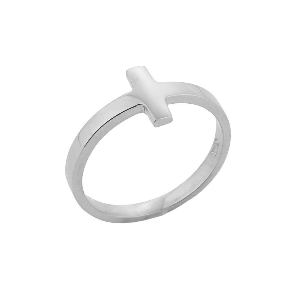 Fine 925 Sterling Silver Mid Finger Band Sideways Cross Knuckle Ring, Size 7