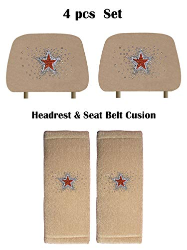 - KAAA ALLBrand Crystal Studded Bling Rhinestone Car Truck Seat Covers Headrest & Seat Belt Cushion - Pair Set (Mono Star/Beige)