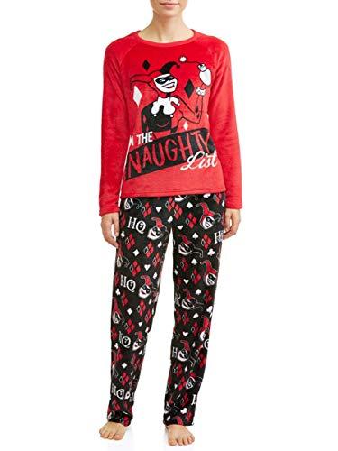 Richard Leeds Harley Quinn Womens On The Naughty List Super Minky Fleece Pajama Set (2X 18W/20W), Red/Black]()