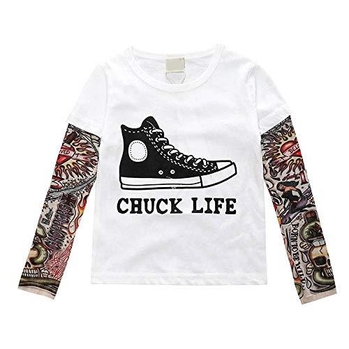Toddler Kids Little Boys Girls Sunscreen Tattoo Sleeve T Shirt Cotton Tees Tops (2T-3T/size 100, Shoe) -