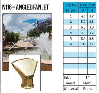 ProEco Display Fountain Nozzle - Angled Fan Jet Nozzle