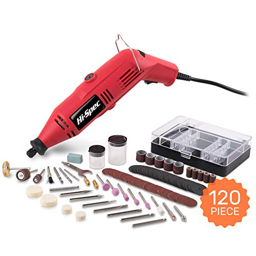 - Hi-Spec Heavy Duty Rotary Tool Kit with Variable Speed & 120pc Universal Accessory Set - Electric Rotary Drill, Sander, Grinder, Cutting & Polishing Tool - DREMEL & WEN Accessories Compatible (1.0A)