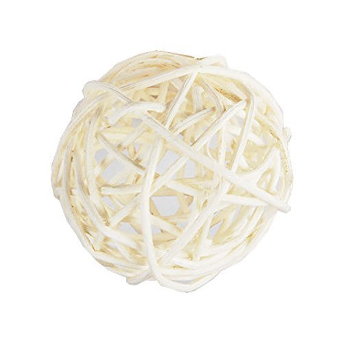 "Custom & Fancy {4"" Inch} Approx 90 Pieces of Large Round Ball ""Table"" Party Confetti Made of Premium Rattan w/ Natural Chic Textured Hollowed Modern Creative Stick Nest Sphere Scatter Design [White] by mySimple Products"
