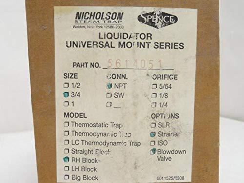 Nicholson 5614051 Blowdown Valve/Strainer RH Block SS, 3/4NPT