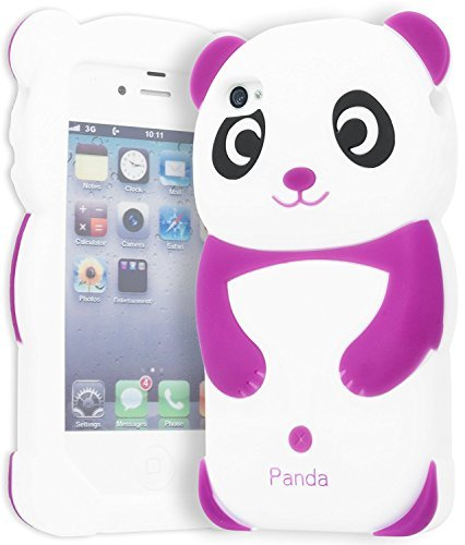 Dark Purple Panda Silicone Jelly Skin Case Cover for Apple Iphone 4G, 4, 4S and 4GS