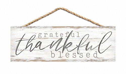P. GRAHAM DUNN Grateful Thankful Blessed Whitewash 10 x 3.5 Inch Pine Wood Slat Hanging Wall Sign ()