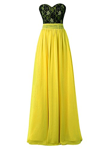 Applique Prom Yellow Chiffon s Long Sexy Dress Bridesmaid AN152 Women Lace Floral Gown Anlin w8HRI44