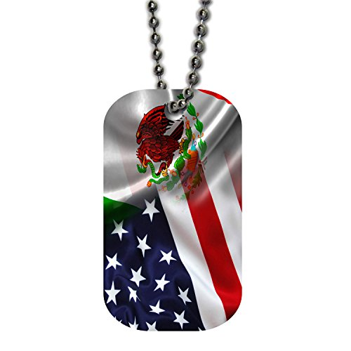 BleuReign(TM) Mixed USA and Mexico Flag Single Sided Metal Military ID Dog Tag with Beaded Chain