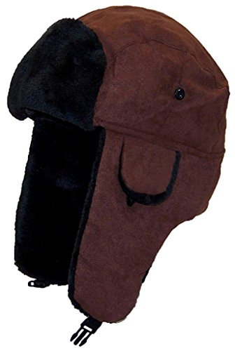 [Best Winter Hats Adult Russian/Aviator Faux Suede Leather w/Faux Fur(One Size) - Brown] (Adult Aviator Hat)