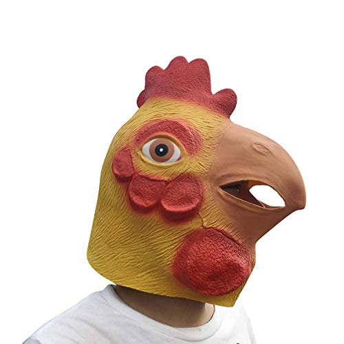 XILALU Novelty Chicken Animal Latex Head Mask, Funny Cool Halloween Theme Party Cosplay Costume Props Decorations-Non-Toxic -