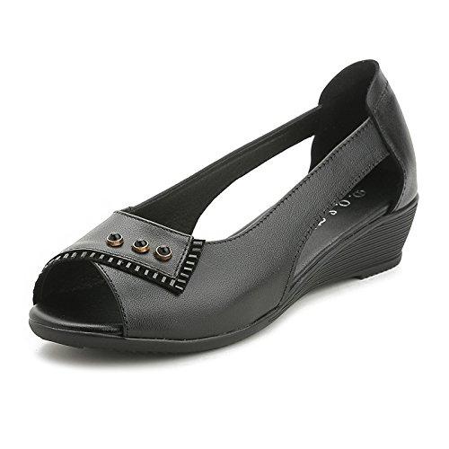 ZPPZZP La sig.ra sandali artificiale fondo piatto a forare in pendenza più vecchi con 36EU con il nero