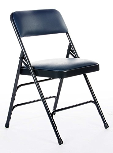 Padded Vinyl - Commercial Vinyl Padded Folding Chair, Triple Cross Bracing, Quad Hinging, 300 lb Tested, 4 pack (Navy Blue)