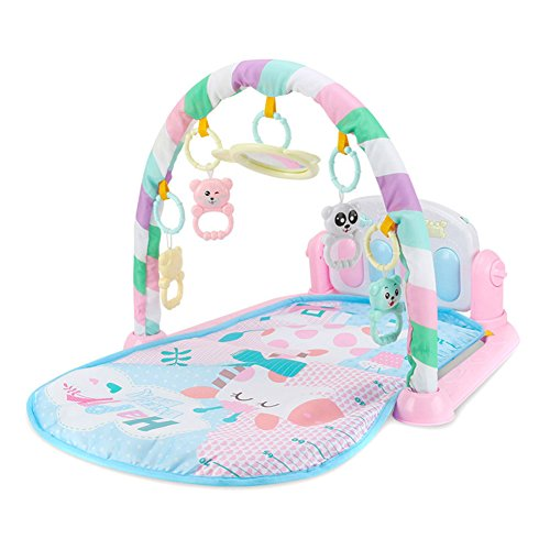 (ASOSMOS Baby Play Mat Fitness Bodybuilding Frame Pedal Piano Music Carpet Blanket Kick Play Lay Sit Toy (pink))