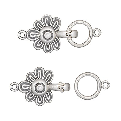 - Clasp magnetic fold-over antiqued sterling silver 23x14mm flower