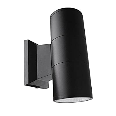 Up Down Cylinder Outdoor Wall Light, Vingtank 10W COB LED Wall Sconce Waterproof Fixture Porch Light Modern Wall Lamp for Building Home Security, Brushed Aluminum Finish