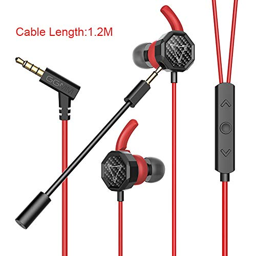 HYLTF Gaming Earbuds, Stereo in-Ear Gaming Earphones with Detachable Dual Mic Volume Control Wired Headphones with 3.5mm Jack for Nintendo Switch, PS4, Xbox One, PUBG Mobile, Cellphone, PC