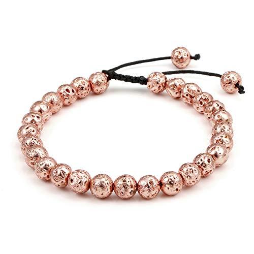 (Top Plaza Men Women Lava Rock Stone Bracelet Aromatherapy Essential Oil Diffuser Bracelet Adjustable Beads Bracelet,Rose Gold Tone)