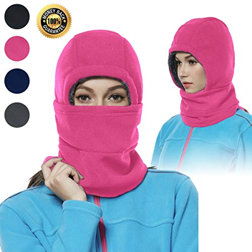 Balaclava Fleece Hood for Women Kids Thick Ski Face Mask Cold Weather Winter Warmer Windproof Adjustable Neck Protective Cycling Running Rose
