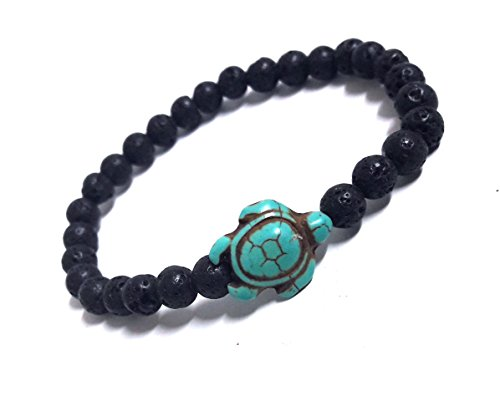 LAVIP Leather Turtle Hemp Bracelet Hawaiian Sea Turtle Bracelet Lava Stone Beads Sea Turtle Turquoise Bracelet