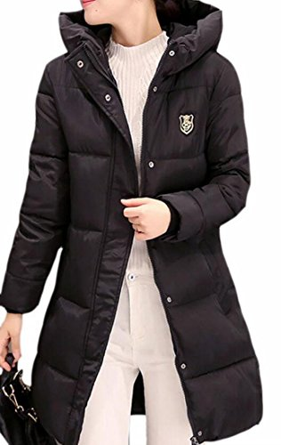today Long Jacket Solid Womens Down Puffer Color Warm Black UK Winter Hooded Sleeve rpHq4wr