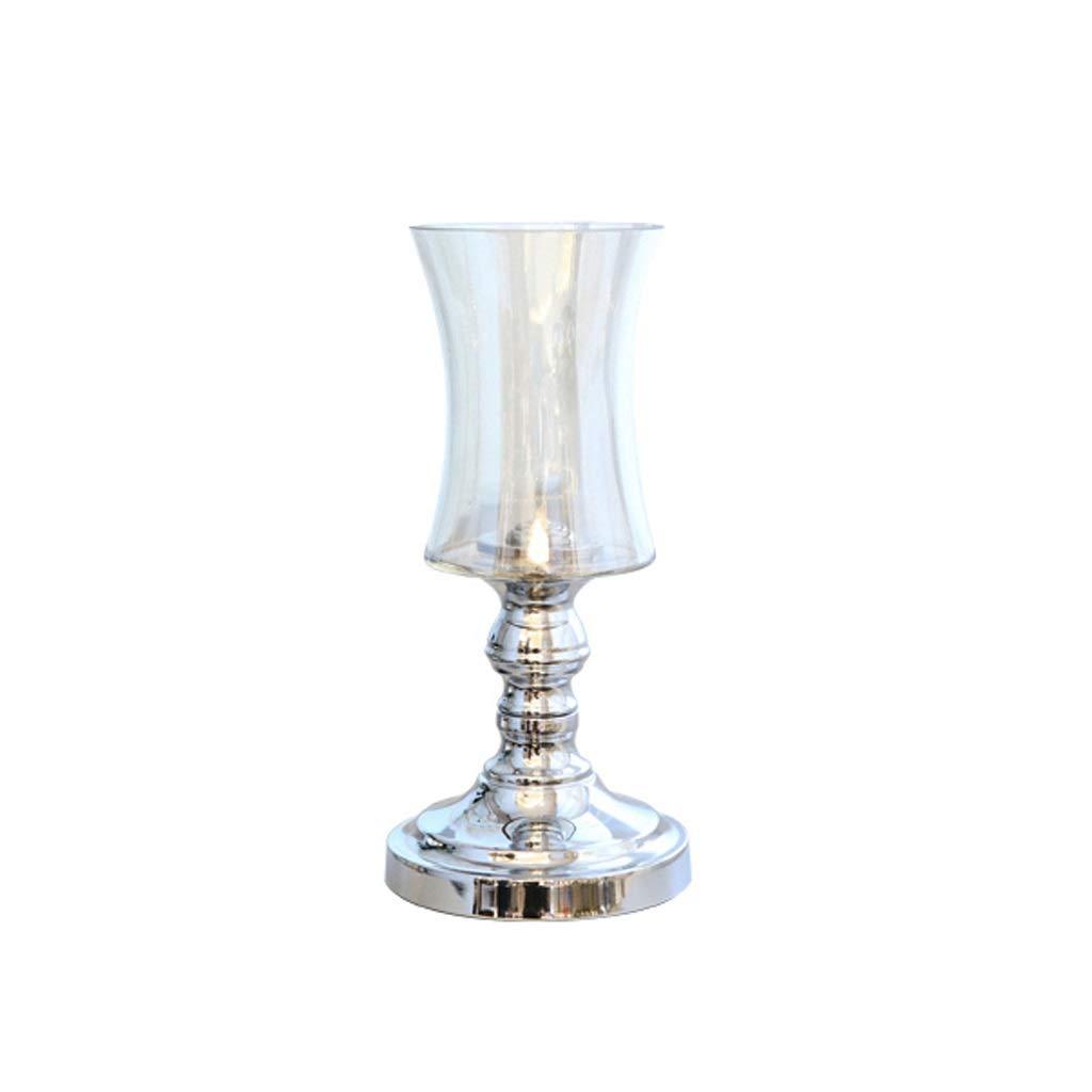 花瓶 ガラス花瓶手作りクラフトライトラグジュアリーシルバーベースオフィスホームデコレーション(31 * 15cm) B07RJPDWP8