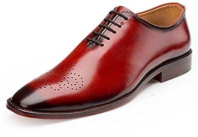 Escaro Royale Men's Geniune Leather Wine Formal Oxford Shoes