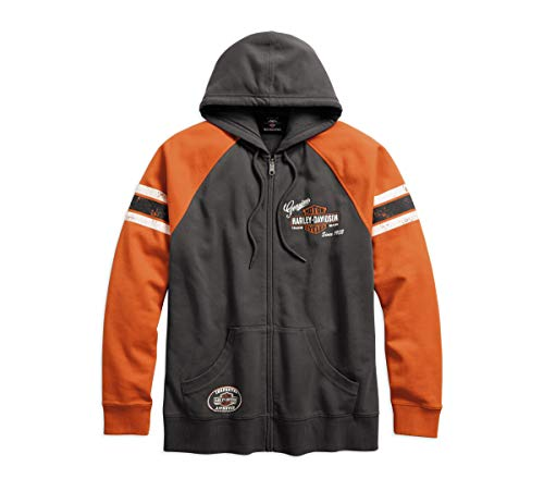 Harley-Davidson Official Men's Genuine Oil Can Hoodie, Grey (X-Large)