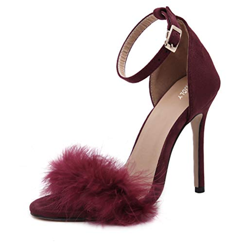 MMJULY Women's Open Toe Ankle Strap Fluffy Feather Stiletto High Heel Dress Sandal Burgundy US 9