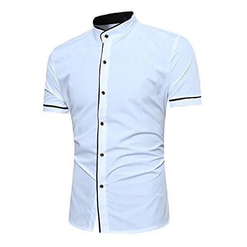 Maple Linen Cabinet - Summer Fashion Men's Casual Short Sleeve T-Shirt, Solid Button Stand Collar Blouse Tops (White, L)