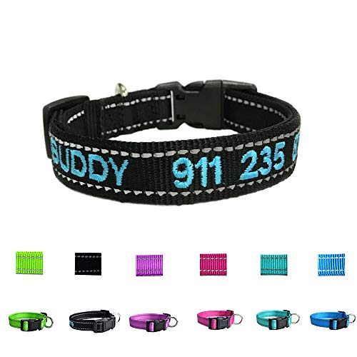 Graceful life Custom Personalized Dog ID Collars Embroidered Pet Name Phone Collars 4 Adjustable Sizes: x Small,Small, Medium, Large Nylon Collars for ()