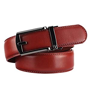 NPET AT010 Men's Full Grain Ratchet Click Belt Luxury Genuine Leather Dress Belt