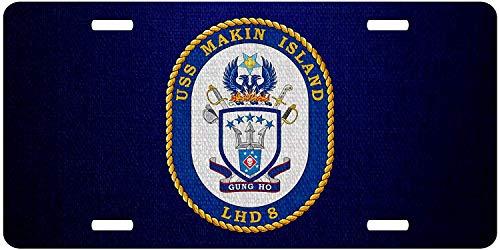 U.S. Navy USS Makin Island (LHD-8), Amphibious Assault Ship Emblem (Crest) Personalized Novelty Front License Plate Decorative U.S. Navy USS Vanity Aluminum Car Tag 12 x 6 Inch ()