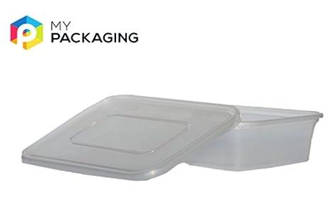 Plástico Microondas Alimentos recipientes con tapas 500 ML ...