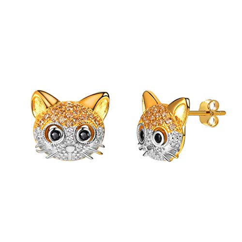 Crystal Cat Earrings 18K Gold Plated 925 Sterling Silver Post AAA Cubic Zirconia Beard Kitten Animal Stud Earring