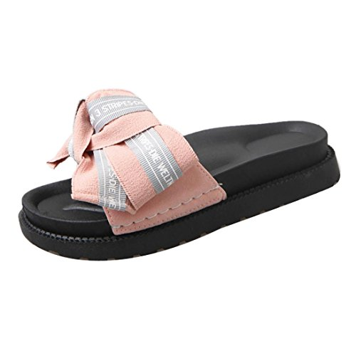 Sandali Con Zeppa Donna Inkach - Scarpe Estive Da Spiaggia Moda Sandali Flops Sandali Bowknot Beach Rosa