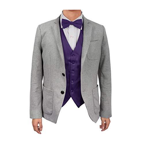 Dan Smith DGEE0002-M Dark Violet Plain Microfiber Infinity Waistcoat Satin For Wedding Vest Matching Bow -