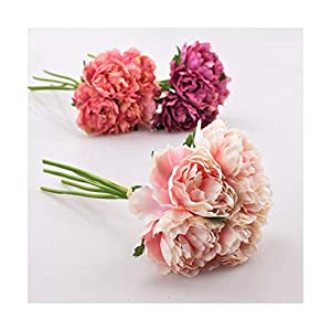 HANBINGPO Artificial Flower Hydrangea 5 Heads Peony Bridal Bouquet Silk Flower for Wedding Valentine's Day Party Home DIY Decoration 42