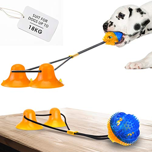 CHARMINER Suction Cup Dog Chewer Toy,Teething Rope Toys with Double Suction Cup, Molar Bite Toy Tug of War for…