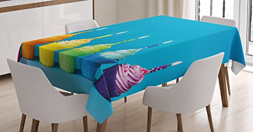 Ambesonne Birthday Decorations Tablecloth, Cupcakes in Rainbow Colors with Candles Fun Homemade Party Food Sweet, Dining Room Kitchen Rectangular Table Cover, 52 W X 70 L Inches, Blue