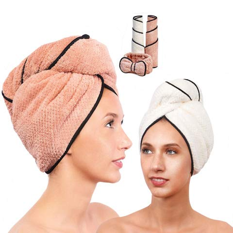 Microfiber Hair Towel for Women - Drying Twist Wrap for Curly, Long, Thin or Short Hair – Ultra Absorbent & Anti Frizz Turban for Sleeping and Showering – 2 Pack PLUS Soft Headband – (Ivory/Pink